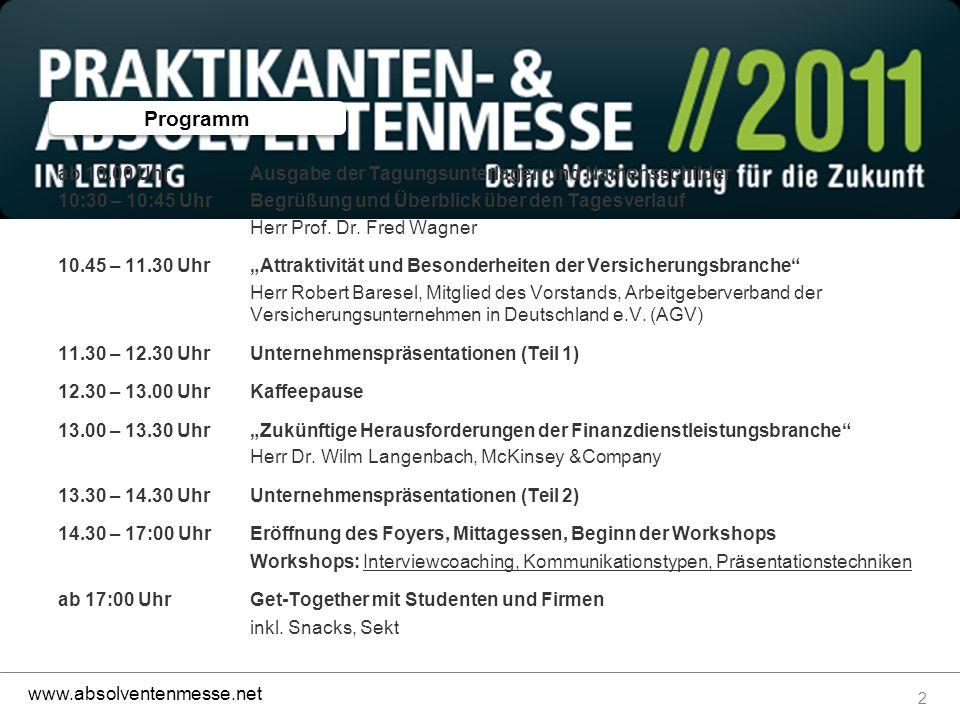 2 www.absolventenmesse.net ab 10.00 UhrAusgabe der Tagungsunterlagen und Namensschilder 10:30 – 10:45 UhrBegrüßung und Überblick über den Tagesverlauf Herr Prof.