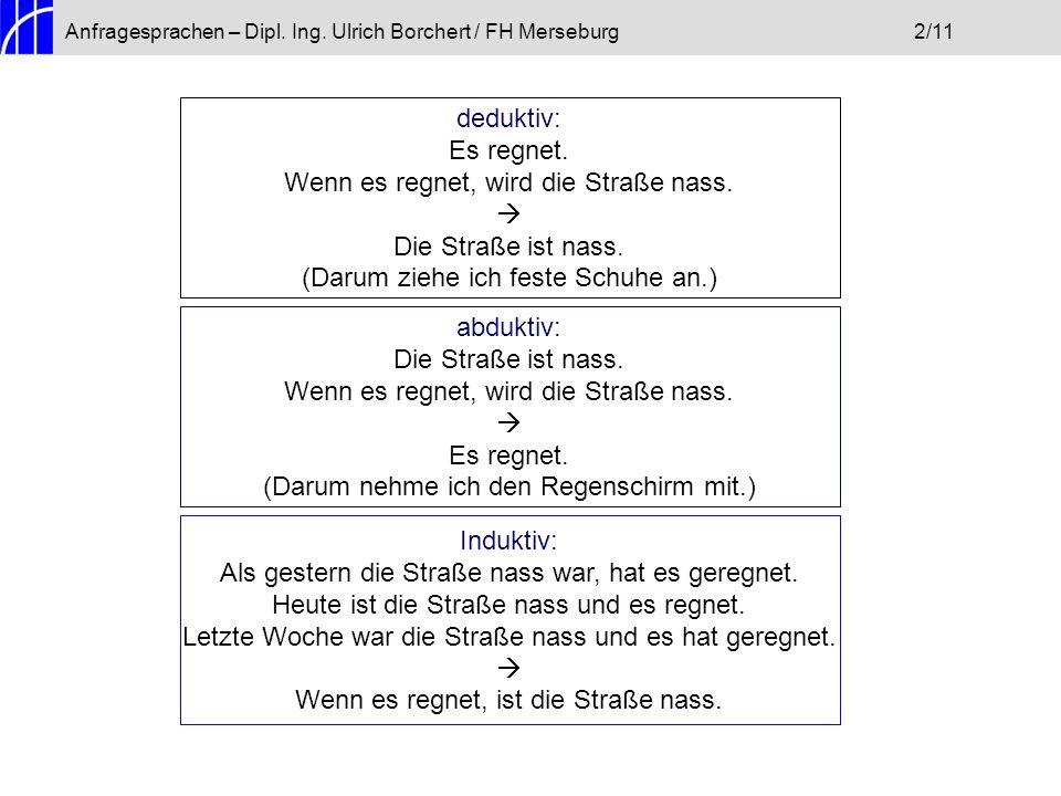Anfragesprachen – Dipl.Ing. Ulrich Borchert / FH Merseburg2/11 deduktiv: Es regnet.