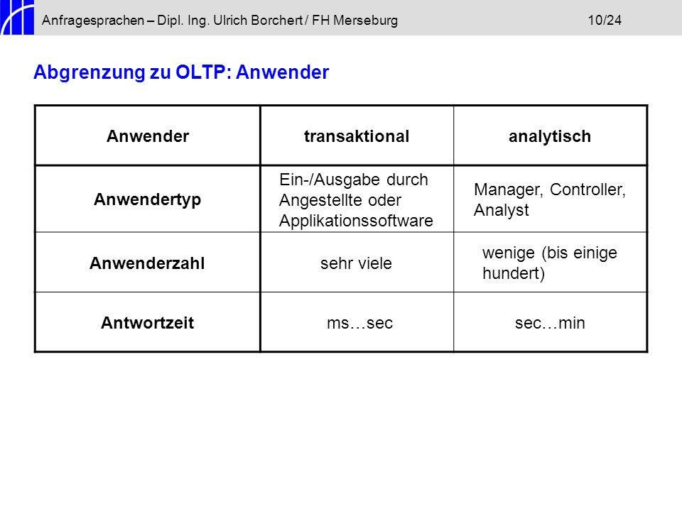 Anfragesprachen – Dipl. Ing. Ulrich Borchert / FH Merseburg10/24 Abgrenzung zu OLTP: Anwender Anwendertransaktionalanalytisch Anwendertyp Ein-/Ausgabe