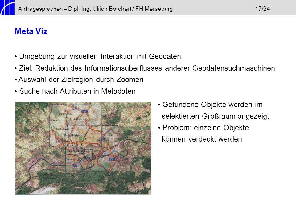 Anfragesprachen – Dipl. Ing. Ulrich Borchert / FH Merseburg17/24 Meta Viz Umgebung zur visuellen Interaktion mit Geodaten Ziel: Reduktion des Informat