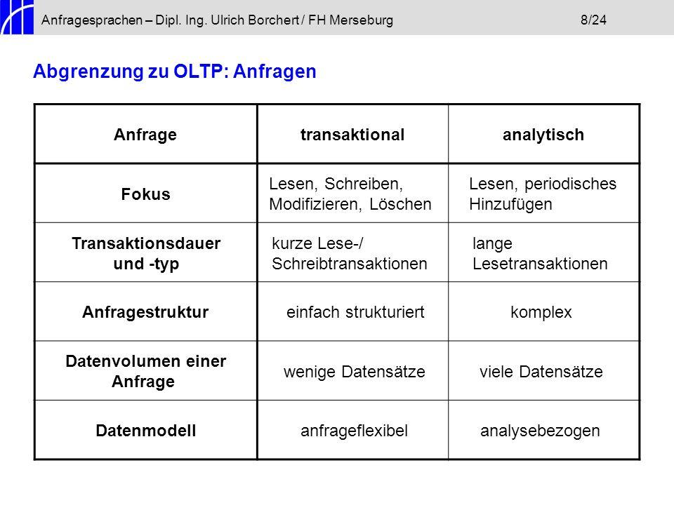 Anfragesprachen – Dipl. Ing. Ulrich Borchert / FH Merseburg8/24 Abgrenzung zu OLTP: Anfragen Anfragetransaktionalanalytisch Fokus Lesen, Schreiben, Mo