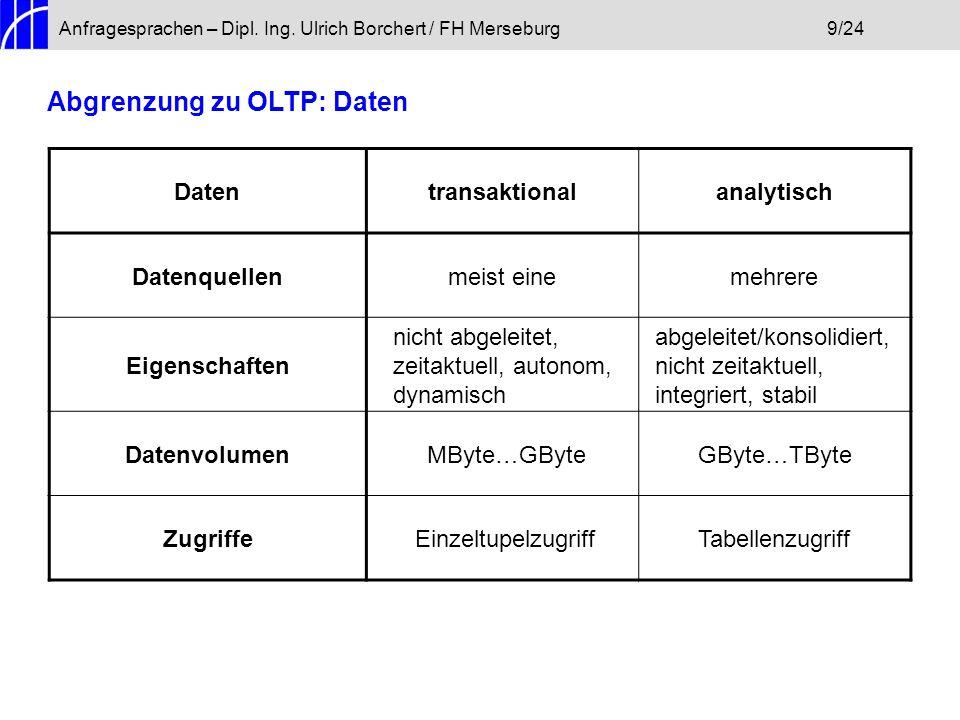 Anfragesprachen – Dipl. Ing. Ulrich Borchert / FH Merseburg9/24 Abgrenzung zu OLTP: Daten Datentransaktionalanalytisch Datenquellenmeist einemehrere E
