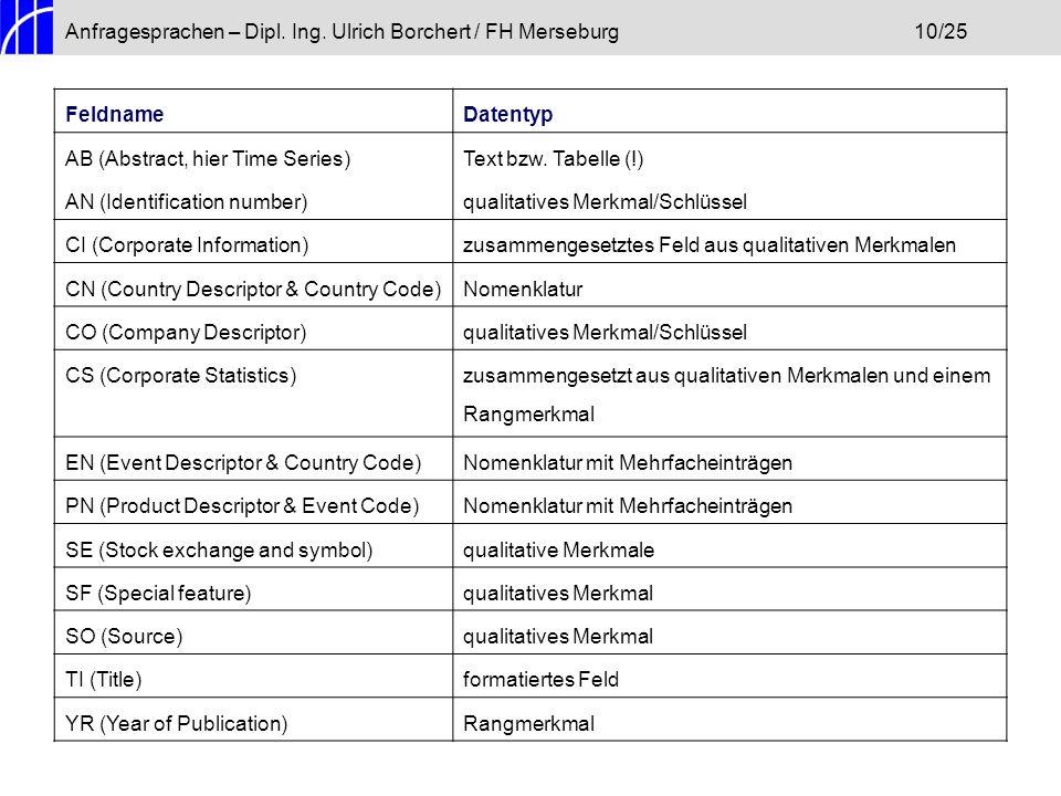 Anfragesprachen – Dipl. Ing. Ulrich Borchert / FH Merseburg10/25 FeldnameDatentyp AB (Abstract, hier Time Series)Text bzw. Tabelle (!) AN (Identificat