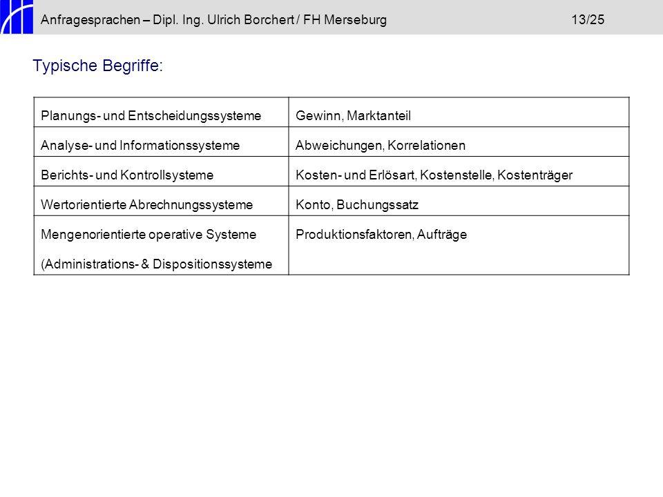 Anfragesprachen – Dipl. Ing. Ulrich Borchert / FH Merseburg13/25 Typische Begriffe: Planungs- und EntscheidungssystemeGewinn, Marktanteil Analyse- und