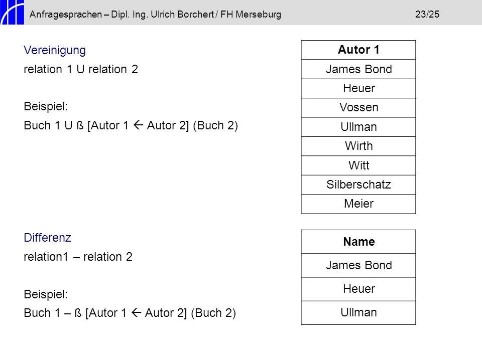 Anfragesprachen – Dipl. Ing. Ulrich Borchert / FH Merseburg23/25 Vereinigung relation 1 U relation 2 Beispiel: Buch 1 U ß [Autor 1 Autor 2] (Buch 2) D