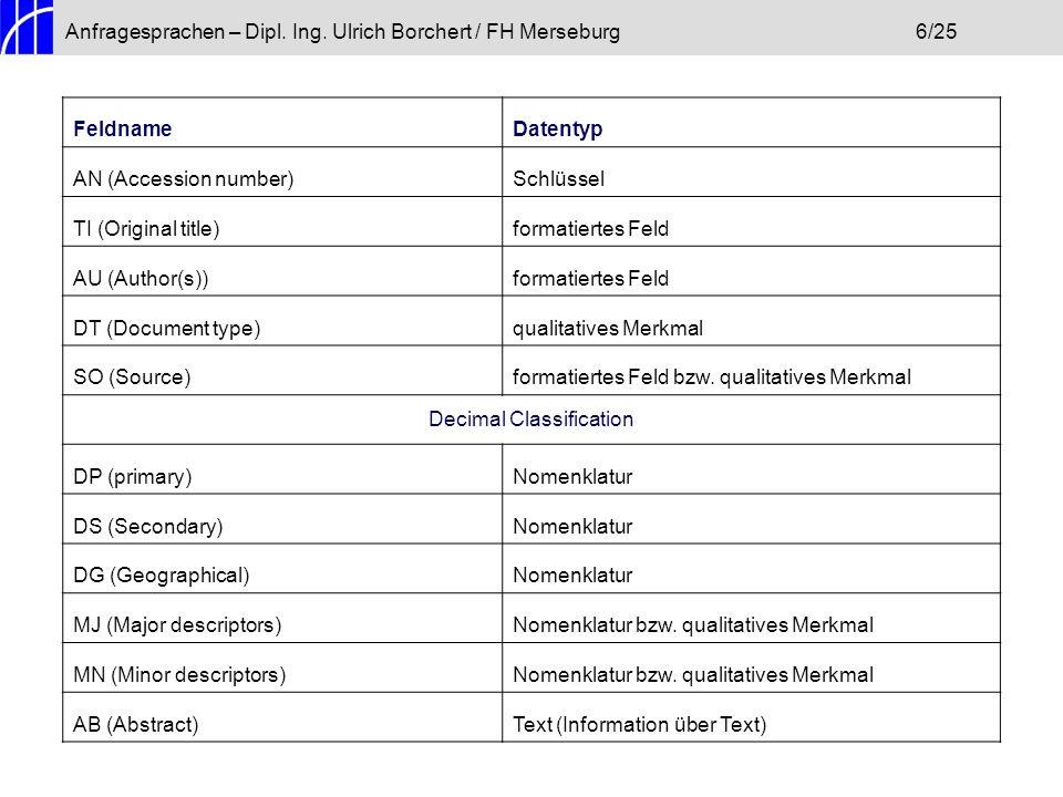 Anfragesprachen – Dipl. Ing. Ulrich Borchert / FH Merseburg6/25 FeldnameDatentyp AN (Accession number)Schlüssel TI (Original title)formatiertes Feld A