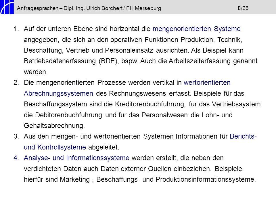 Anfragesprachen – Dipl. Ing. Ulrich Borchert / FH Merseburg8/25 1.Auf der unteren Ebene sind horizontal die mengenorientierten Systeme angegeben, die
