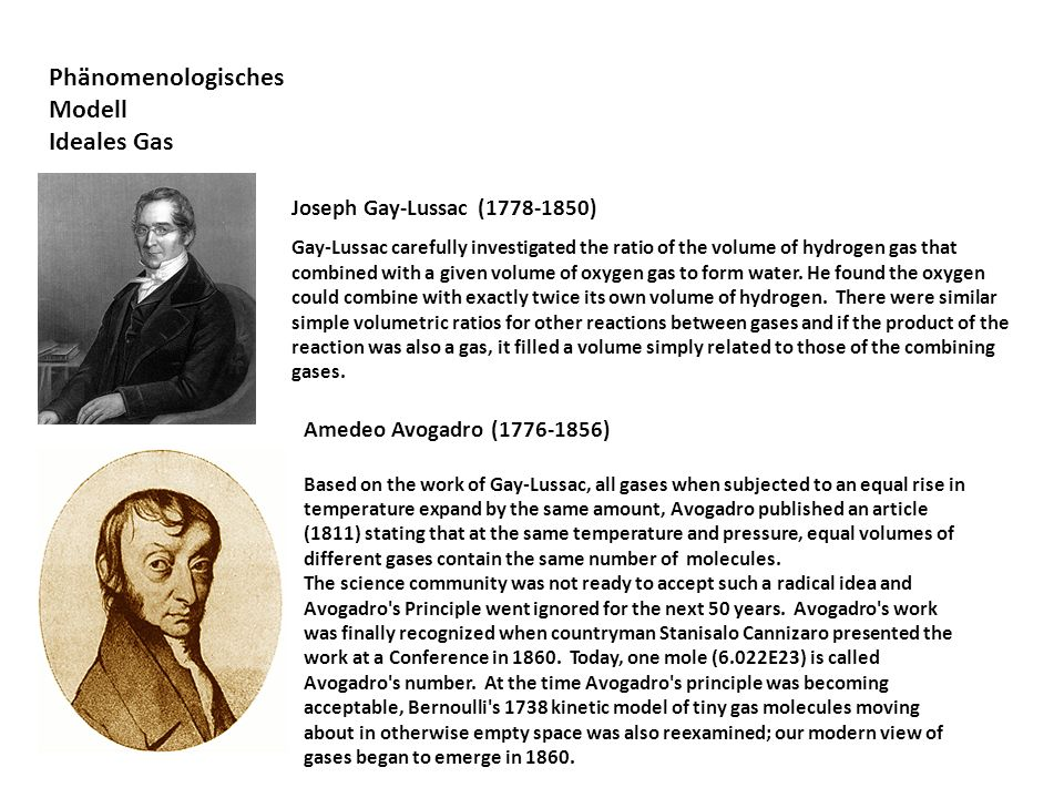 Phänomenologisches Modell Ideales Gas Joseph Gay-Lussac (1778-1850) Gay-Lussac carefully investigated the ratio of the volume of hydrogen gas that com