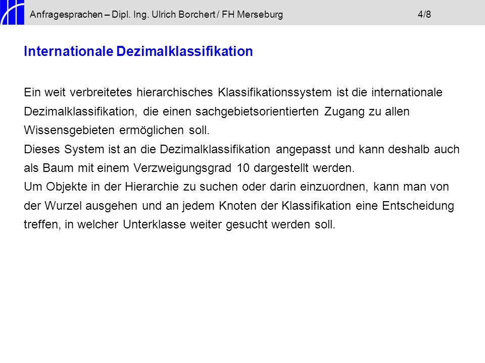 Anfragesprachen – Dipl. Ing. Ulrich Borchert / FH Merseburg4/8 Internationale Dezimalklassifikation Ein weit verbreitetes hierarchisches Klassifikatio