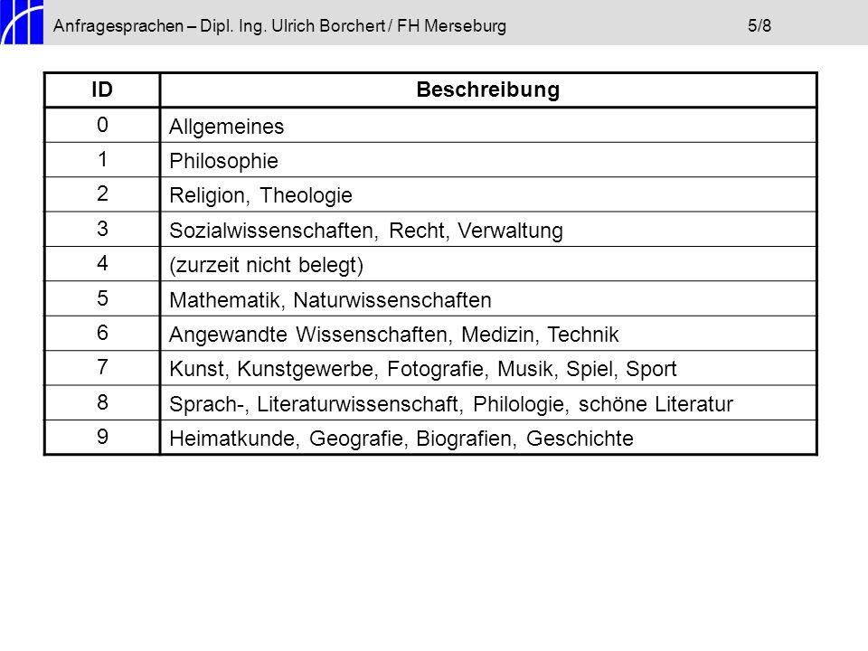 Anfragesprachen – Dipl. Ing. Ulrich Borchert / FH Merseburg5/8 IDBeschreibung 0Allgemeines 1Philosophie 2Religion, Theologie 3Sozialwissenschaften, Re