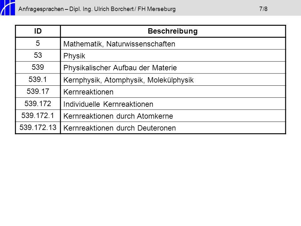 Anfragesprachen – Dipl. Ing. Ulrich Borchert / FH Merseburg7/8 IDBeschreibung 5Mathematik, Naturwissenschaften 53Physik 539Physikalischer Aufbau der M