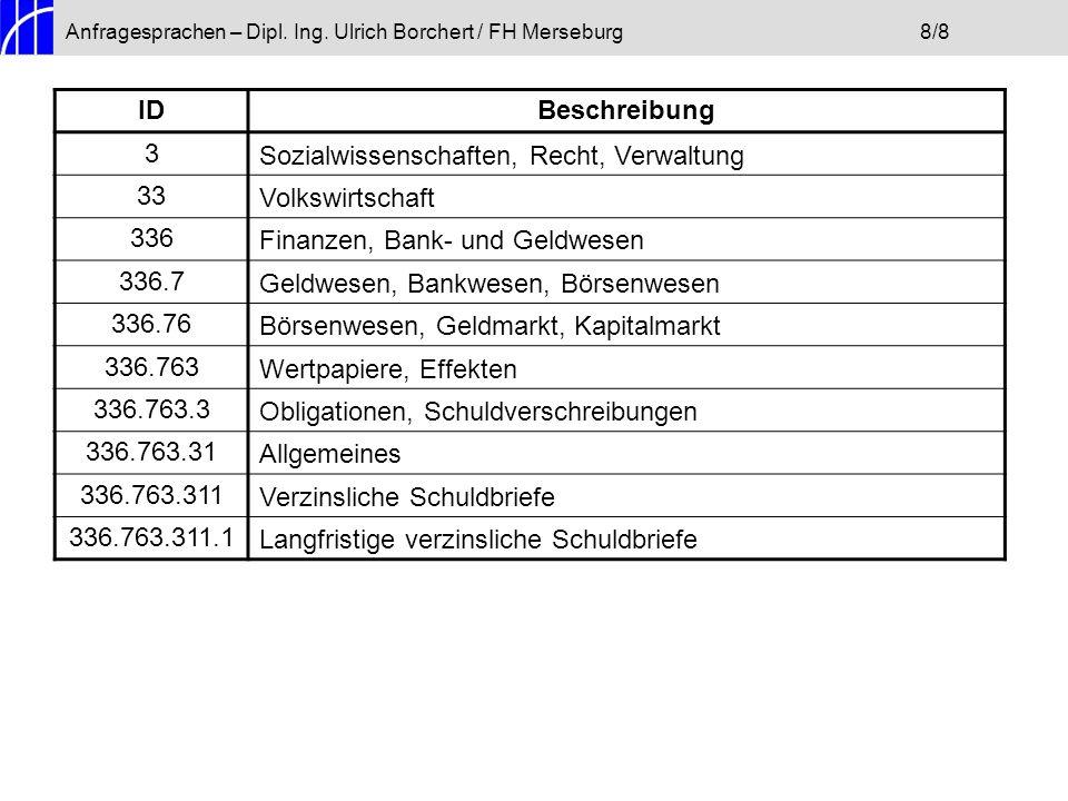 Anfragesprachen – Dipl. Ing. Ulrich Borchert / FH Merseburg8/8 IDBeschreibung 3Sozialwissenschaften, Recht, Verwaltung 33Volkswirtschaft 336Finanzen,
