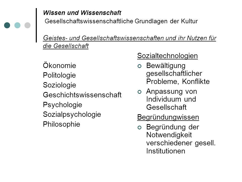 Wissen und Wissenschaft Gesellschaftswissenschaftliche Grundlagen der Kultur G eistes- und Gesellschaftswissenschaften und ihr Nutzen für die Gesellsc