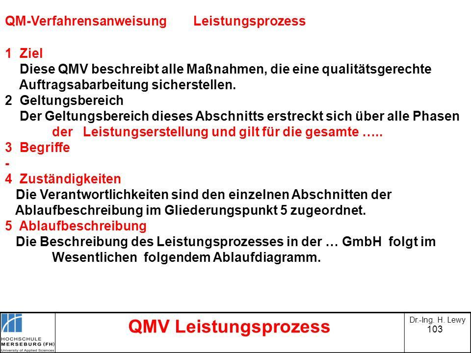 103 QMV Leistungsprozess Dr.-Ing. H. Lewy QM-VerfahrensanweisungLeistungsprozess 1 Ziel Diese QMV beschreibt alle Maßnahmen, die eine qualitätsgerecht