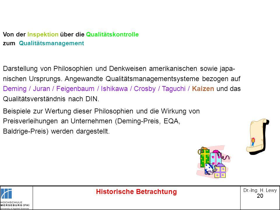 20 Historische Betrachtung Dr.-Ing. H. Lewy Von der Inspektion über die Qualitätskontrolle zum Qualitätsmanagement Darstellung von Philosophien und De