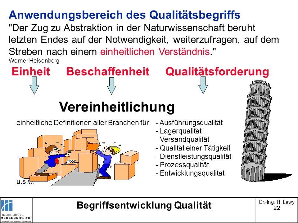 22 Begriffsentwicklung Qualität Dr.-Ing. H. Lewy Anwendungsbereich des Qualitätsbegriffs