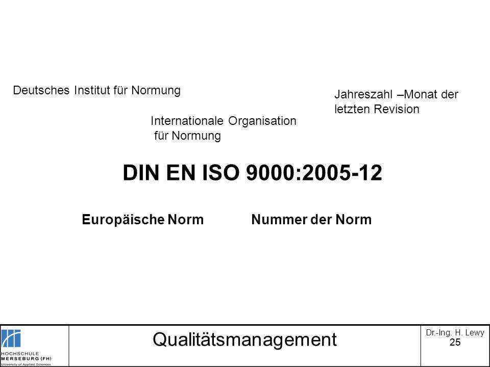 25 DIN EN ISO 9000:2005-12 Europäische Norm Nummer der Norm Deutsches Institut für Normung Internationale Organisation für Normung Jahreszahl –Monat d