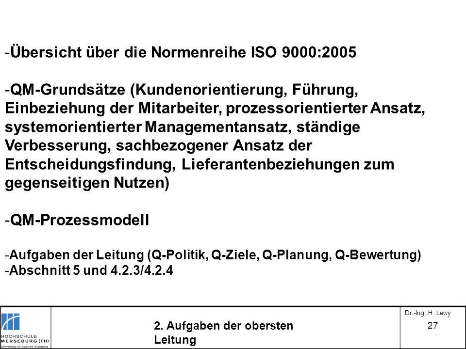 -Übersicht über die Normenreihe ISO 9000:2005 -QM-Grundsätze (Kundenorientierung, Führung, Einbeziehung der Mitarbeiter, prozessorientierter Ansatz, s