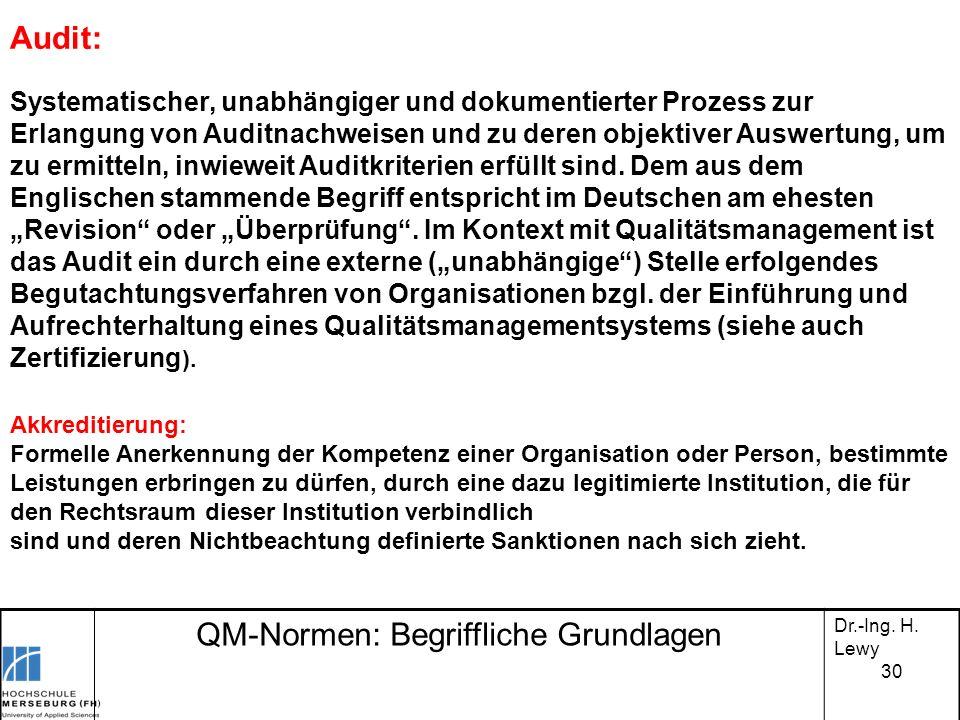 QM-Normen: Begriffliche Grundlagen Dr.-Ing. H. Lewy Audit: Systematischer, unabhängiger und dokumentierter Prozess zur Erlangung von Auditnachweisen u