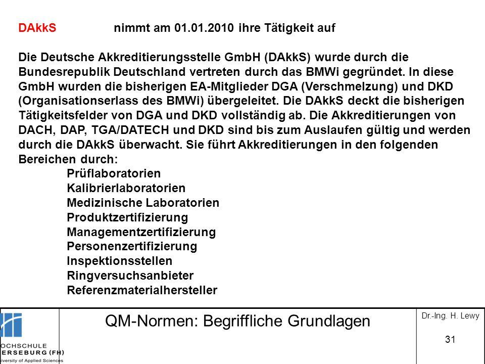 QM-Normen: Begriffliche Grundlagen Dr.-Ing. H. Lewy 31 DAkkS Die Deutsche Akkreditierungsstelle GmbH (DAkkS) wurde durch die Bundesrepublik Deutschlan