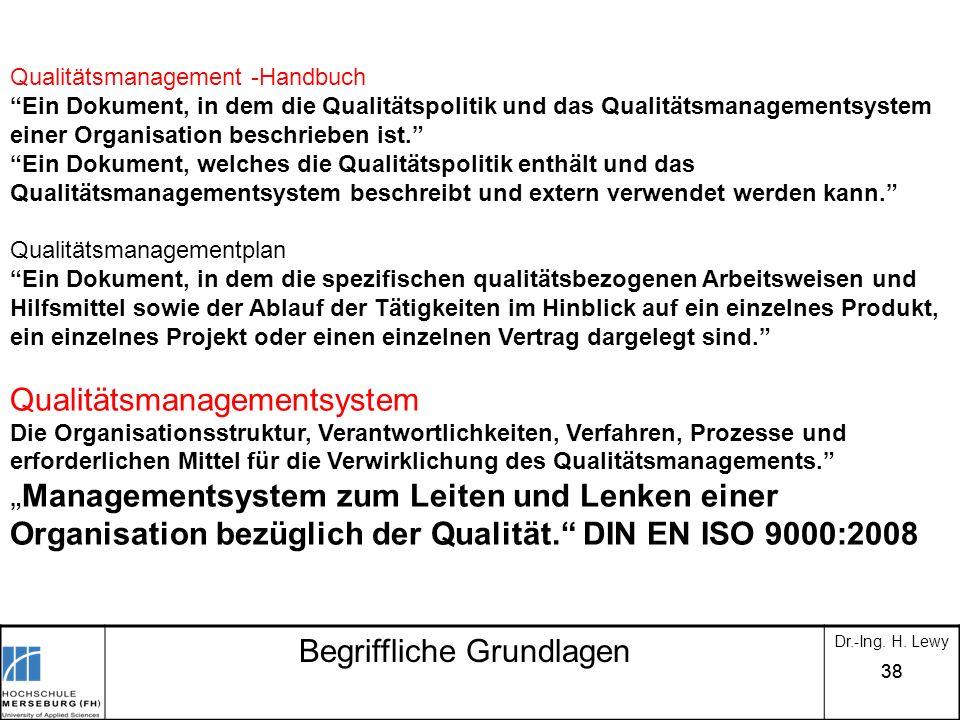 38 Begriffliche Grundlagen Dr.-Ing. H. Lewy Qualitätsmanagement -Handbuch Ein Dokument, in dem die Qualitätspolitik und das Qualitätsmanagementsystem