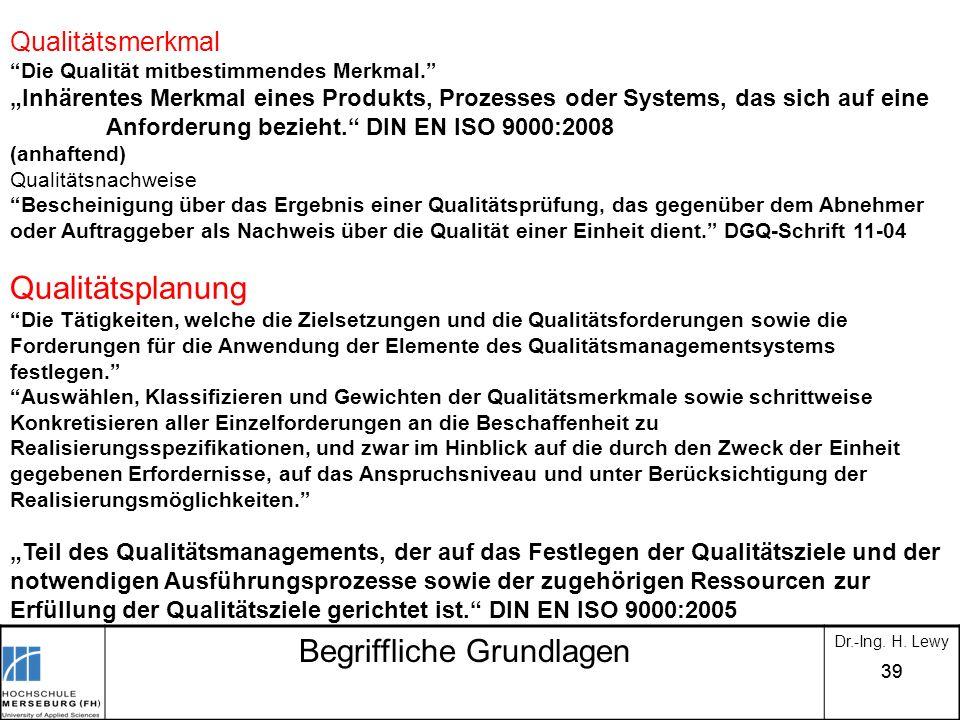 39 Begriffliche Grundlagen Dr.-Ing. H. Lewy Qualitätsmerkmal Die Qualität mitbestimmendes Merkmal. Inhärentes Merkmal eines Produkts, Prozesses oder S