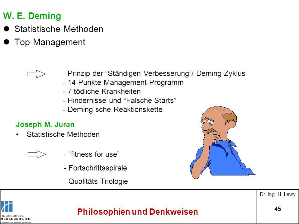 45 Philosophien und Denkweisen W. E. Deming Statistische Methoden Top-Management - Prinzip der Ständigen Verbesserung/ Deming-Zyklus - 14-Punkte Manag