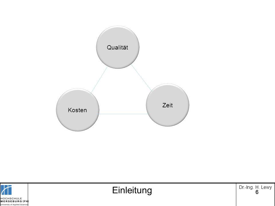 66 Qualität Zeit Kosten Einleitung Dr.-Ing. H. Lewy