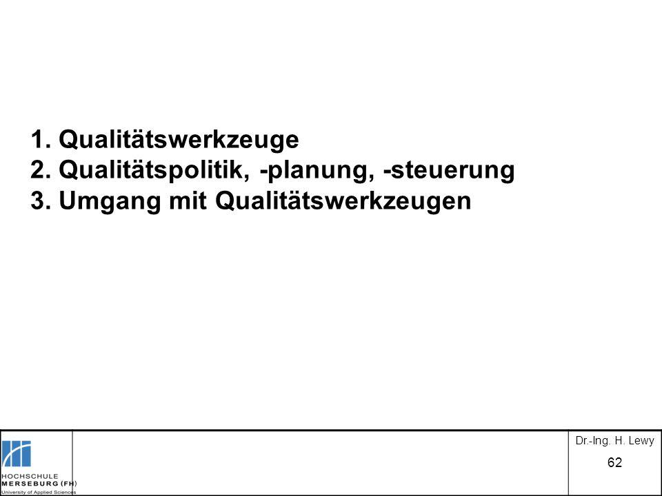 62 Dr.-Ing. H. Lewy 1. Qualitätswerkzeuge 2. Qualitätspolitik, -planung, -steuerung 3. Umgang mit Qualitätswerkzeugen