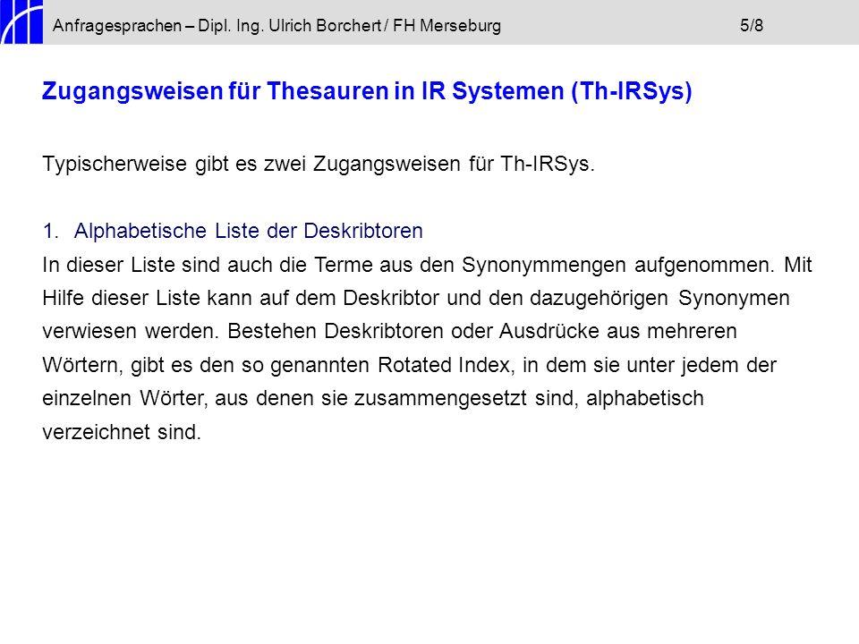 Anfragesprachen – Dipl.Ing. Ulrich Borchert / FH Merseburg6/8 2.
