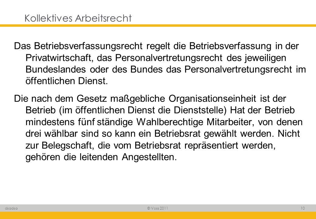 © Voss 2011 10 dsadsa Kollektives Arbeitsrecht Das Betriebsverfassungsrecht regelt die Betriebsverfassung in der Privatwirtschaft, das Personalvertret