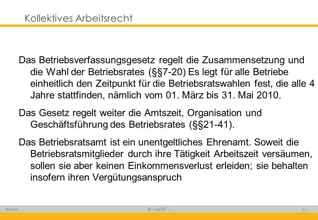 © Voss 2011 11 dsadsa Kollektives Arbeitsrecht Das Betriebsverfassungsgesetz regelt die Zusammensetzung und die Wahl der Betriebsrates (§§7-20) Es leg