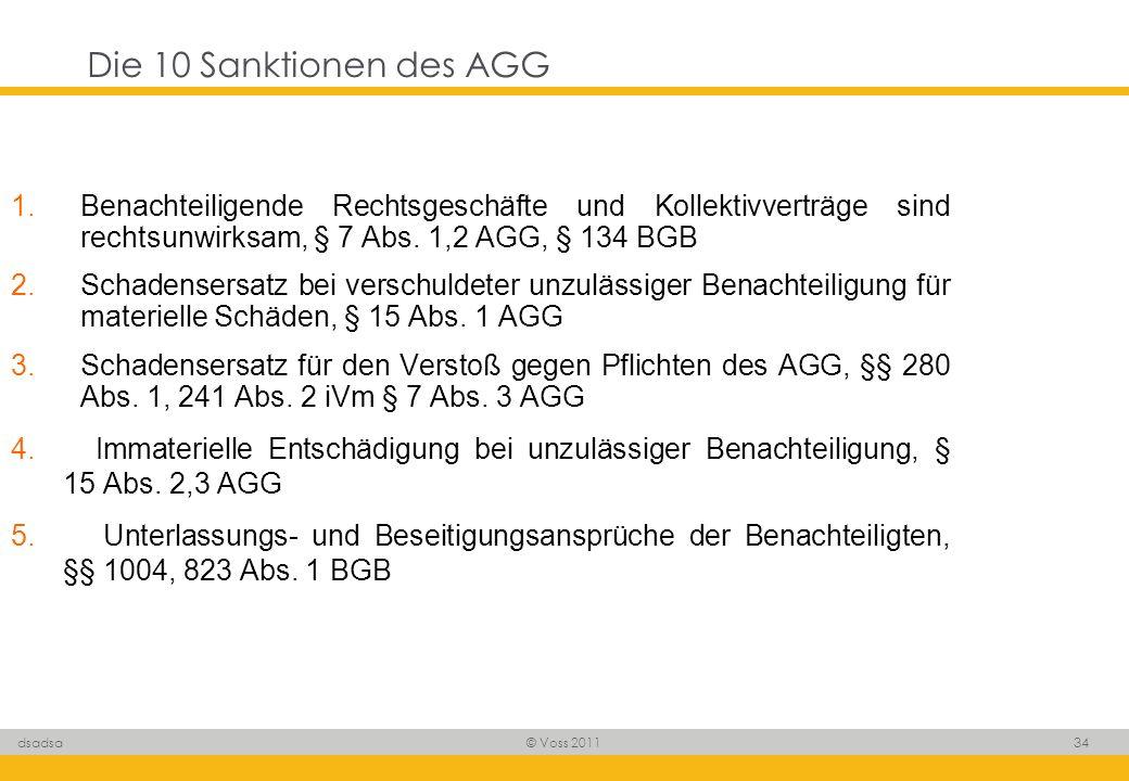© Voss 2011 34 dsadsa Die 10 Sanktionen des AGG 1.Benachteiligende Rechtsgeschäfte und Kollektivverträge sind rechtsunwirksam, § 7 Abs. 1,2 AGG, § 134