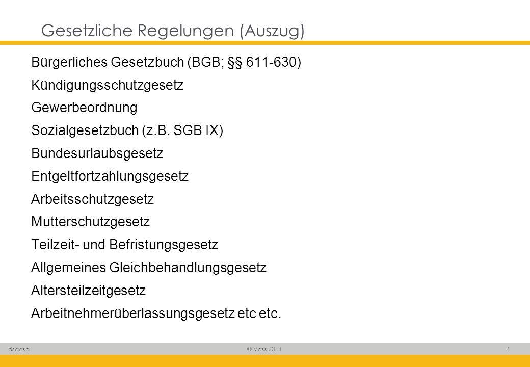 © Voss 2011 4 dsadsa Gesetzliche Regelungen (Auszug) Bürgerliches Gesetzbuch (BGB; §§ 611-630) Kündigungsschutzgesetz Gewerbeordnung Sozialgesetzbuch