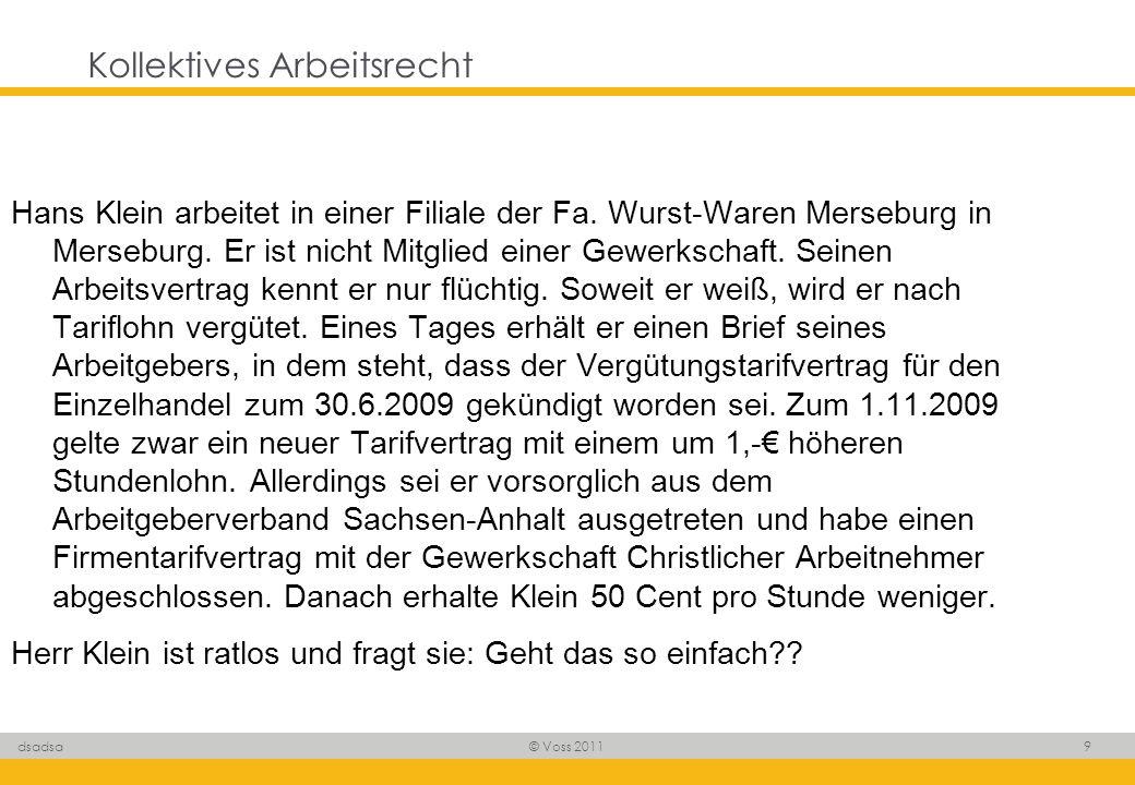 © Voss 2011 9 dsadsa Kollektives Arbeitsrecht Hans Klein arbeitet in einer Filiale der Fa. Wurst-Waren Merseburg in Merseburg. Er ist nicht Mitglied e
