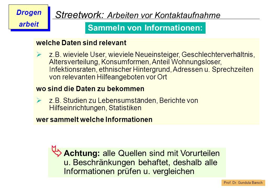 Prof. Dr. Gundula Barsch Drogen arbeit Streetwork: Arbeiten vor Kontaktaufnahme welche Daten sind relevant z.B. wieviele User, wieviele Neueinsteiger,