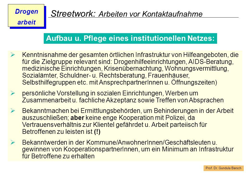 Prof. Dr. Gundula Barsch Drogen arbeit Streetwork: Arbeiten vor Kontaktaufnahme Kenntnisnahme der gesamten örtlichen Infrastruktur von Hilfeangeboten,