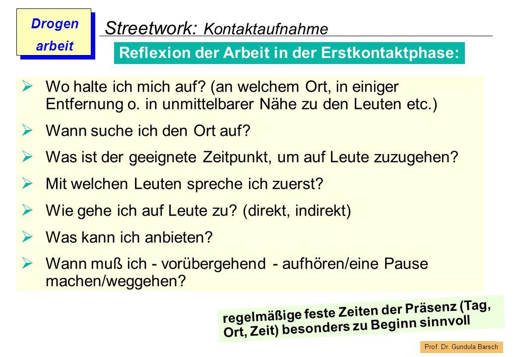 Prof. Dr. Gundula Barsch Drogen arbeit Streetwork: Kontaktaufnahme Reflexion der Arbeit in der Erstkontaktphase: Wo halte ich mich auf? (an welchem Or