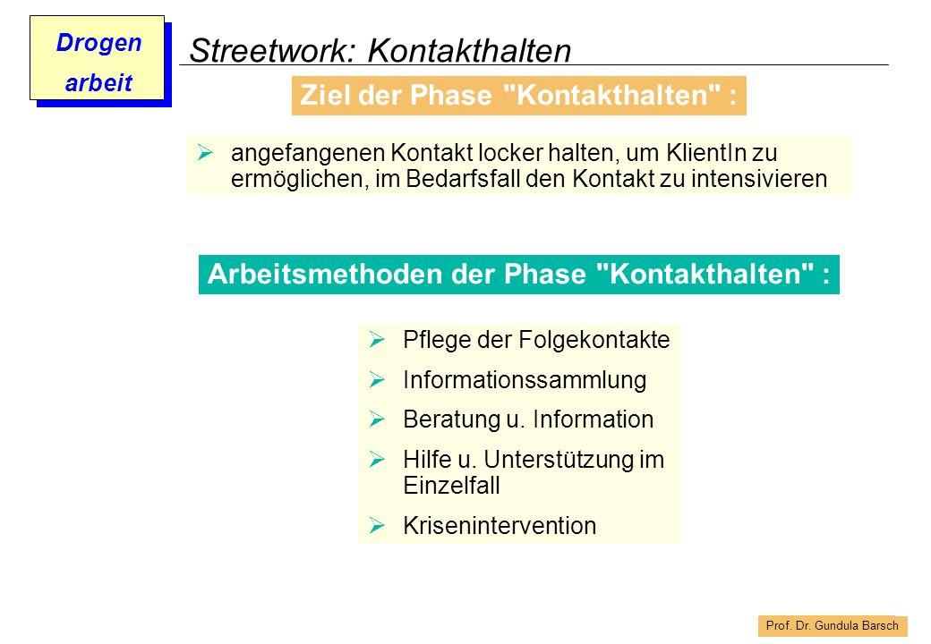 Prof. Dr. Gundula Barsch Drogen arbeit Streetwork: Kontakthalten Arbeitsmethoden der Phase