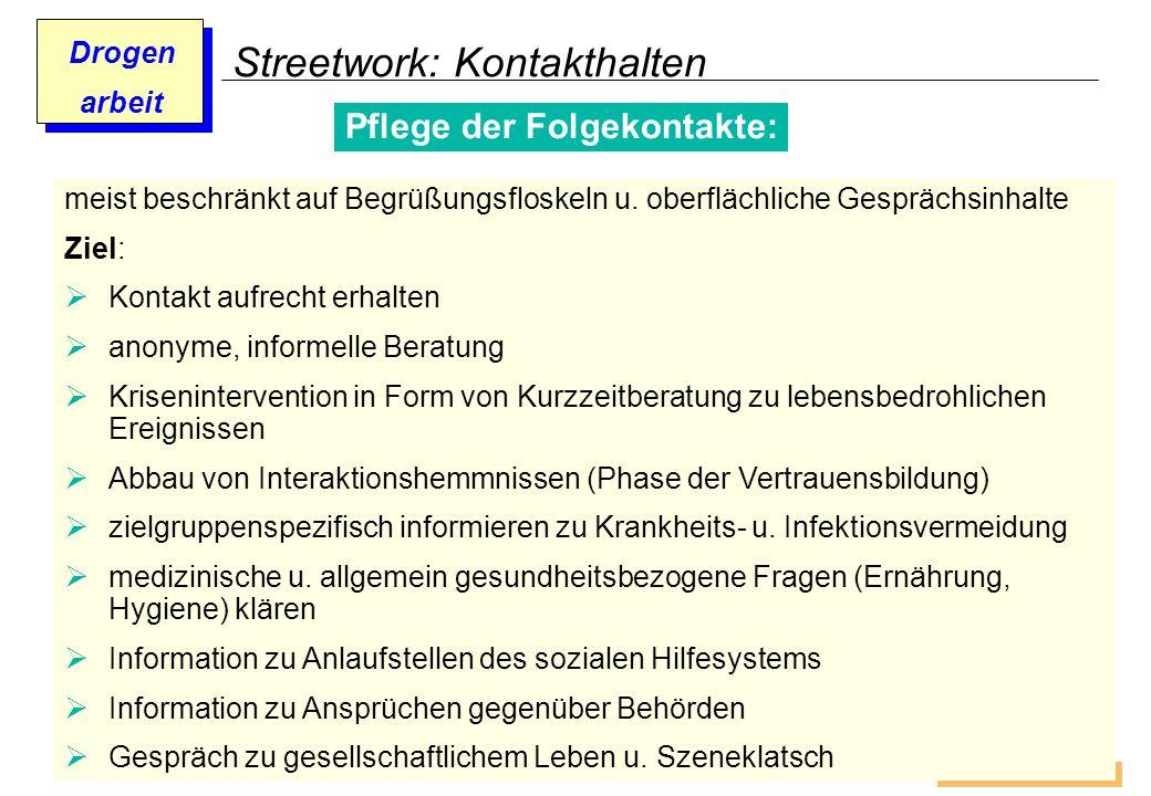 Prof. Dr. Gundula Barsch Drogen arbeit Streetwork: Kontakthalten Pflege der Folgekontakte: meist beschränkt auf Begrüßungsfloskeln u. oberflächliche G