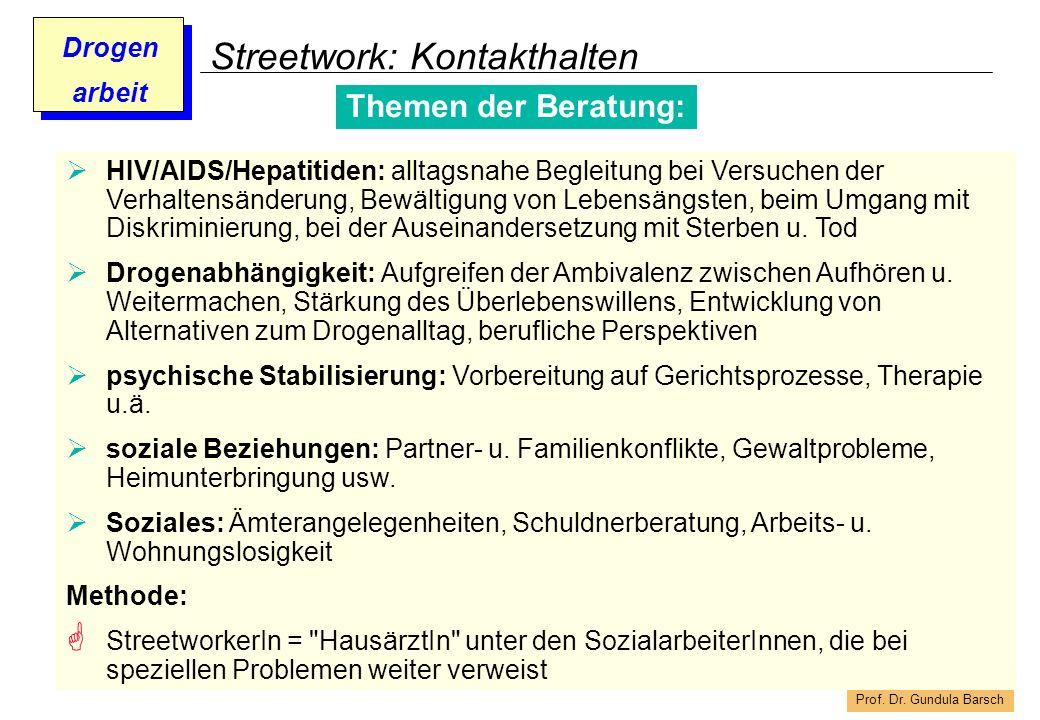 Prof. Dr. Gundula Barsch Drogen arbeit Streetwork: Kontakthalten Themen der Beratung: HIV/AIDS/Hepatitiden: alltagsnahe Begleitung bei Versuchen der V