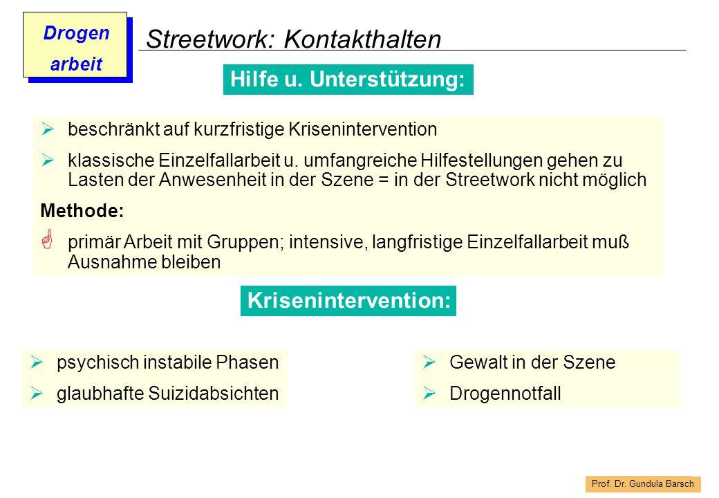 Prof. Dr. Gundula Barsch Drogen arbeit Streetwork: Kontakthalten Hilfe u. Unterstützung: beschränkt auf kurzfristige Krisenintervention klassische Ein