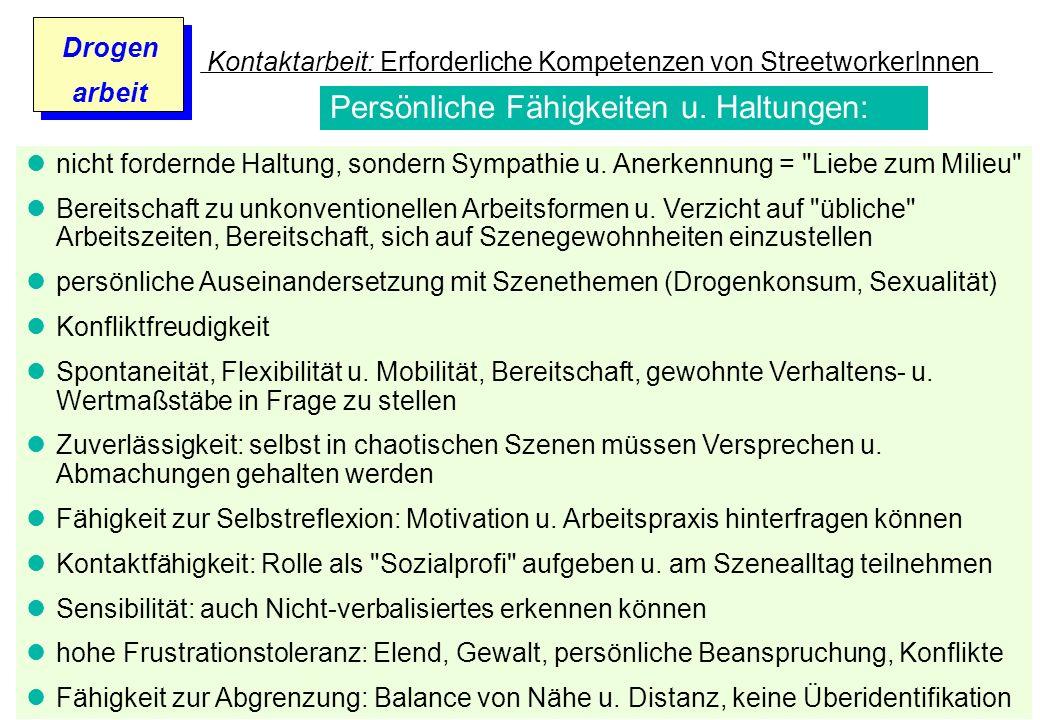 Prof. Dr. Gundula Barsch Drogen arbeit Kontaktarbeit: Erforderliche Kompetenzen von StreetworkerInnen nicht fordernde Haltung, sondern Sympathie u. An