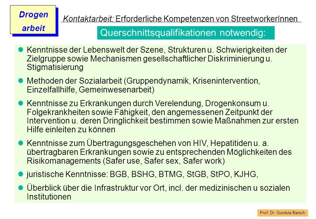 Prof. Dr. Gundula Barsch Drogen arbeit Kontaktarbeit: Erforderliche Kompetenzen von StreetworkerInnen Kenntnisse der Lebenswelt der Szene, Strukturen