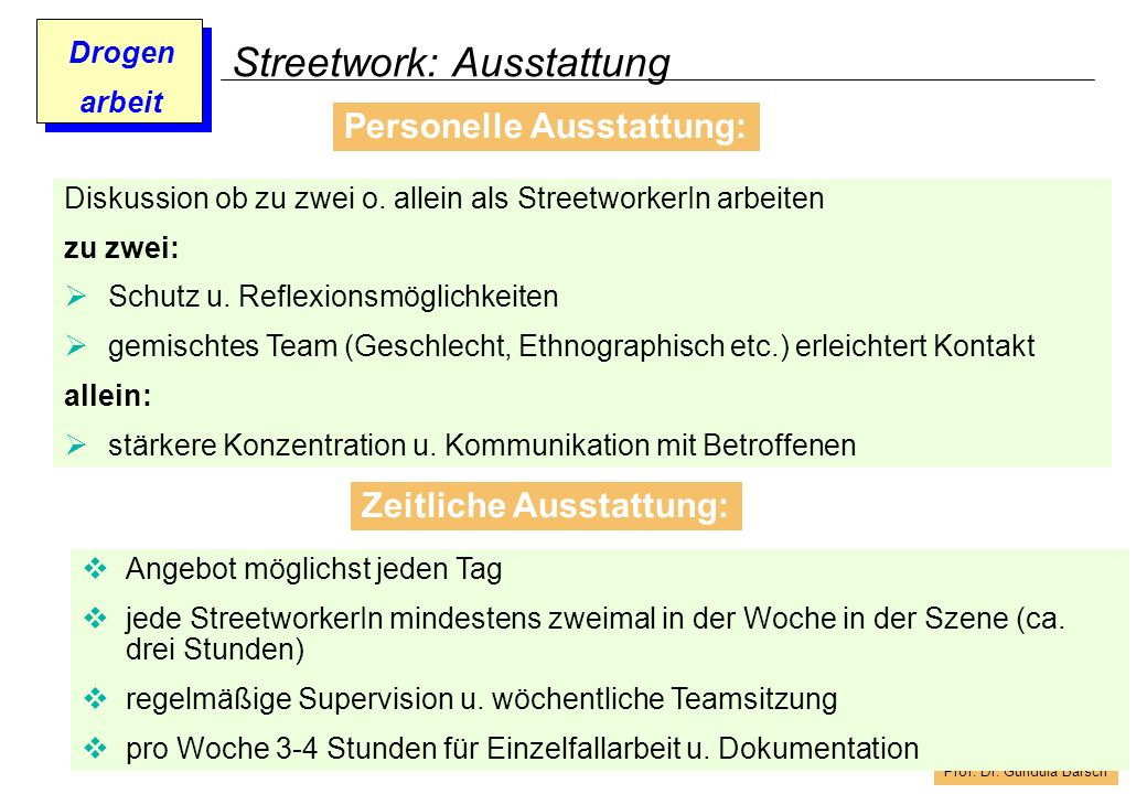 Prof. Dr. Gundula Barsch Drogen arbeit Streetwork: Ausstattung Personelle Ausstattung: Diskussion ob zu zwei o. allein als StreetworkerIn arbeiten zu