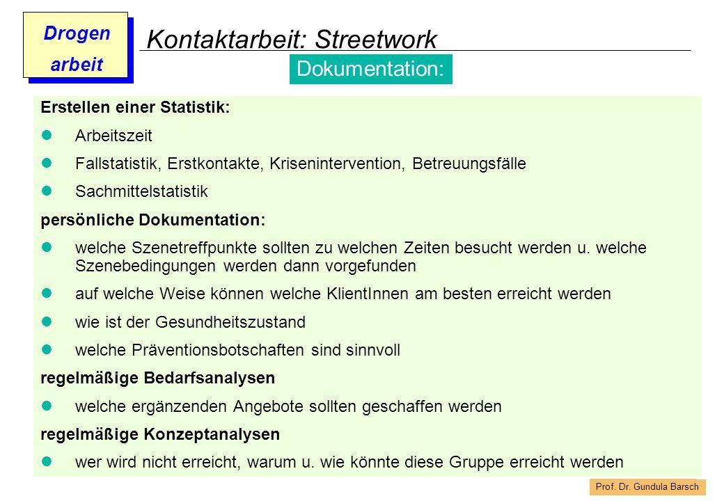 Prof. Dr. Gundula Barsch Drogen arbeit Kontaktarbeit: Streetwork Erstellen einer Statistik: Arbeitszeit Fallstatistik, Erstkontakte, Kriseninterventio