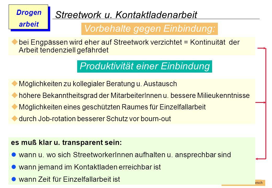 Prof. Dr. Gundula Barsch Drogen arbeit Streetwork u. Kontaktladenarbeit bei Engpässen wird eher auf Streetwork verzichtet = Kontinuität der Arbeit ten