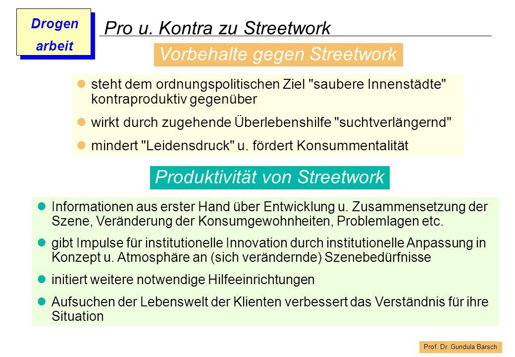 Prof. Dr. Gundula Barsch Drogen arbeit Pro u. Kontra zu Streetwork steht dem ordnungspolitischen Ziel