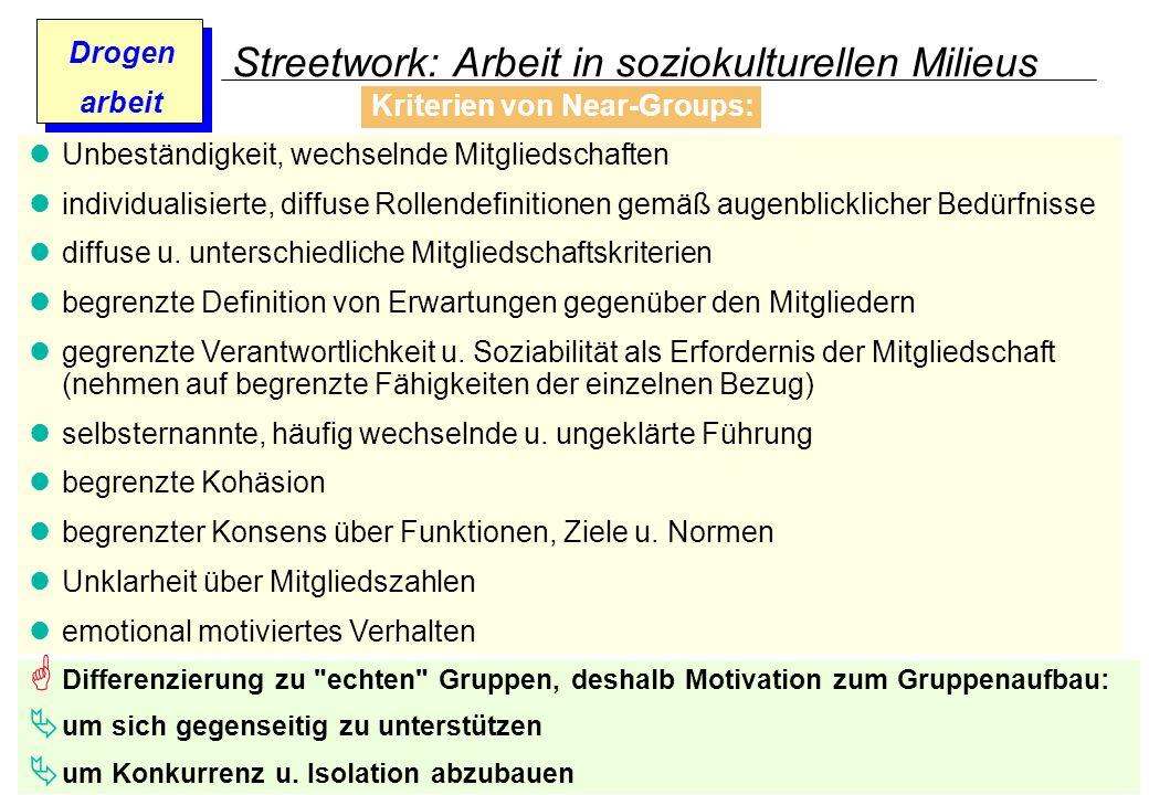 Prof. Dr. Gundula Barsch Drogen arbeit Streetwork: Arbeit in soziokulturellen Milieus Kriterien von Near-Groups: Unbeständigkeit, wechselnde Mitglieds