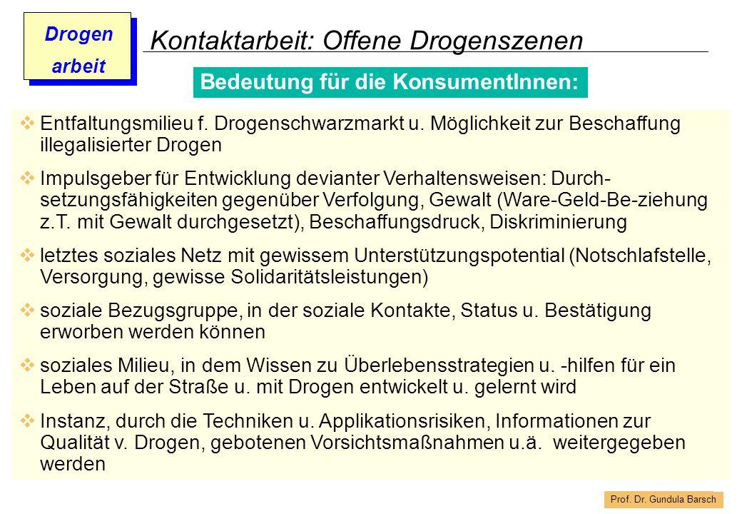 Prof. Dr. Gundula Barsch Drogen arbeit Kontaktarbeit: Offene Drogenszenen Bedeutung für die KonsumentInnen: Entfaltungsmilieu f. Drogenschwarzmarkt u.